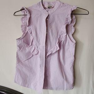 Sleeveless dress shirt with ruffle edge